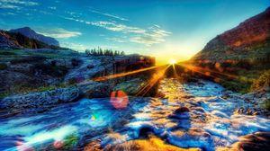 Превью обои свет, пена, небо, закат, яркий