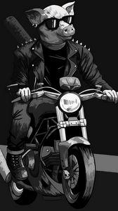 Превью обои свин, очки, байкер, мотоцикл, арт, черно-белый