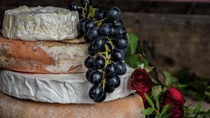 Превью обои сыр, роза, виноград