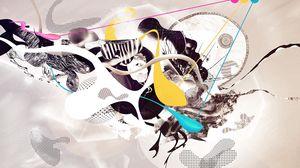 Превью обои сюрреализм, краска, животное, яркий, бумага