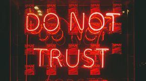 Превью обои текст, неон, красный, доверие, роботы