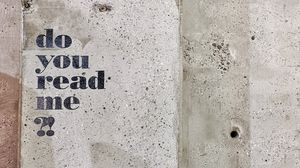 Превью обои текст, вопрос, фраза, слова, стена, бетон