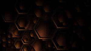Превью обои текстура, геометрия, шестиугольники, коричневый, темный