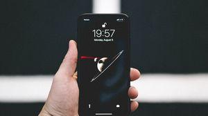 Превью обои телефон, смартфон, рука, черный, темный