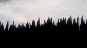 Превью обои тень, деревья, стена, текстура