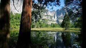 Превью обои тень, стволы, деревья, озеро, горы