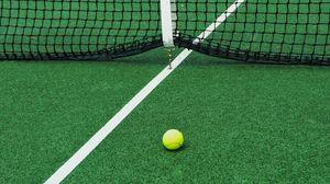 Превью обои теннис, корт, сетка, мяч, спорт