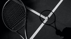 Превью обои теннис, ракетка, теннисный мяч, чб