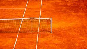 Превью обои теннис, сетка, корт, оранжевый