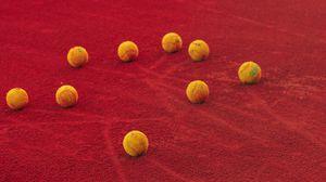 Превью обои теннис, теннисные  мячи, мячи, корт