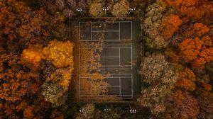 Превью обои теннис, теннисный корт, осень, вид сверху