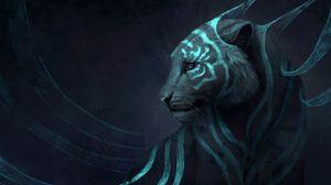 Превью обои тигр, арт, фантастический, хищник