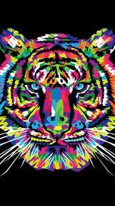 Превью обои тигр, арт, разноцветный, орнамент, вектор