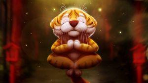 Превью обои тигр, медитация, арт, забавный