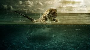 Превью обои тигр, прыжок, море, под водой, охота