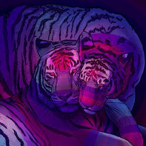 Превью обои тигры, пара, хищники, арт, фиолетовый