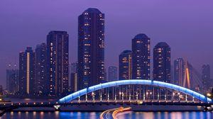 Превью обои токио, небоскребы, мост, море, свет, ночь