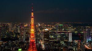 Превью обои токио, ночной город, башня, небоскребы