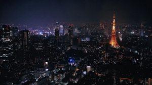 Превью обои токио, япония, город, ночь, огни
