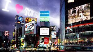 Превью обои токио, здания, вечер, реклама