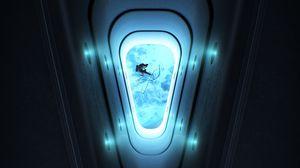Превью обои иллюминатор, космонавт, открытый космос, свечение