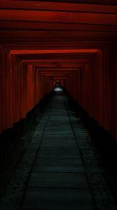Превью обои тоннель, проход, темный, красный