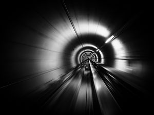 Превью обои тоннель, скорость, полосы, черно-белый, черный