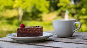 Превью обои торт, малина, ягода, шоколад, десерт