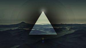 Превью обои треугольник, све, темный