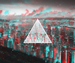 Превью обои треугольник, свет, пелена