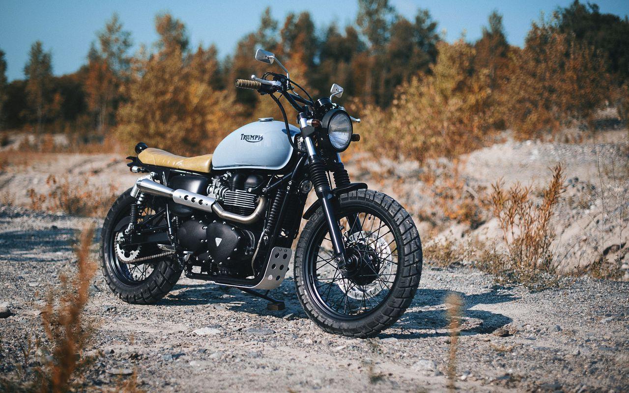 1280x800 Обои triumph, bonneville, мотоцикл, вид сбоку