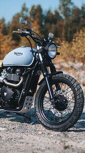 Превью обои triumph, bonneville, мотоцикл, вид сбоку