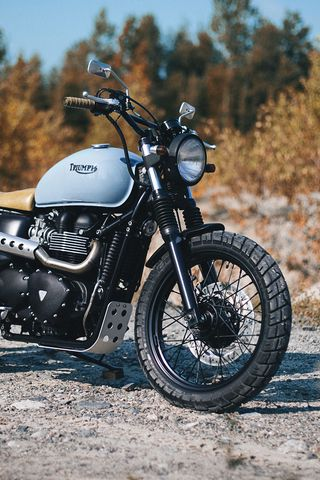 320x480 Обои triumph, bonneville, мотоцикл, вид сбоку