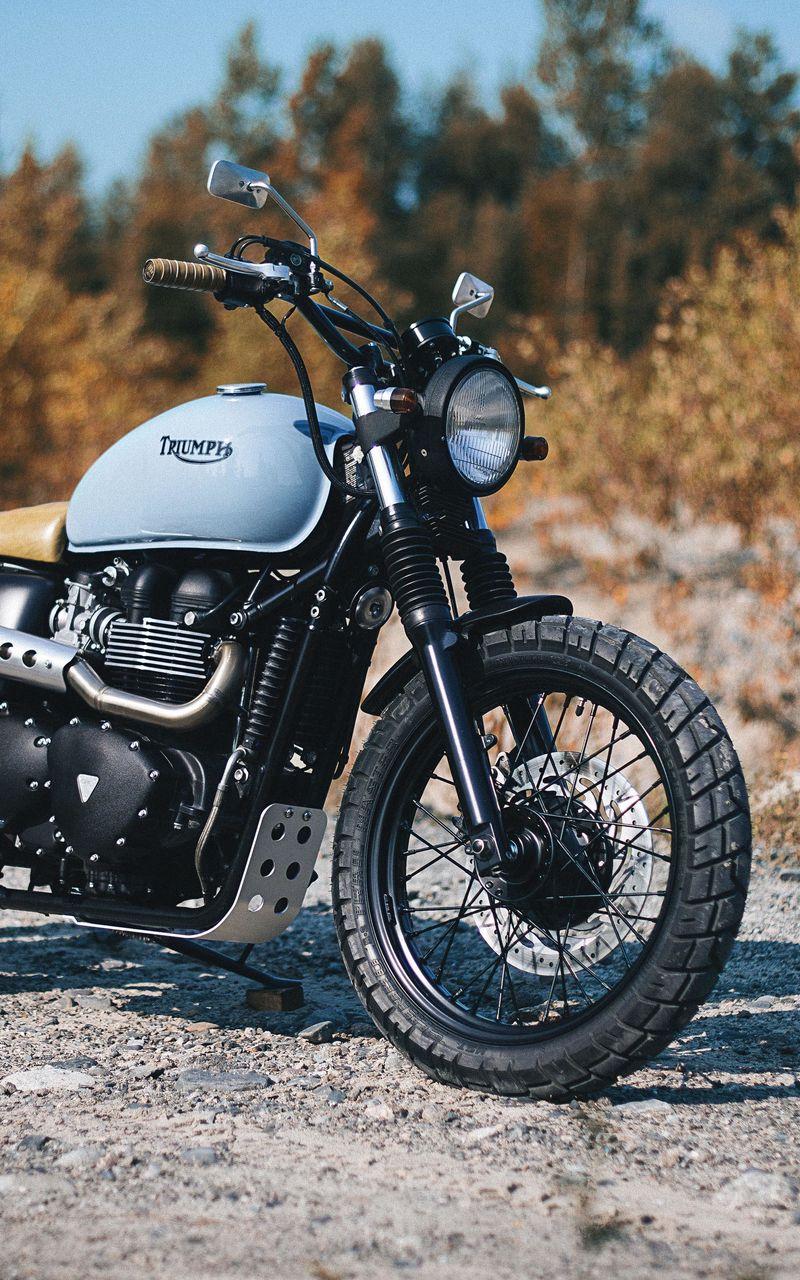 800x1280 Обои triumph, bonneville, мотоцикл, вид сбоку
