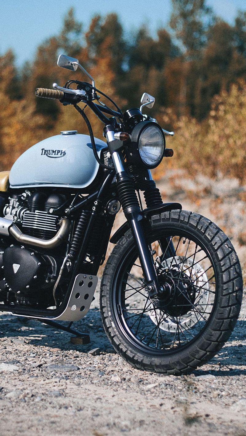 800x1420 Обои triumph, bonneville, мотоцикл, вид сбоку