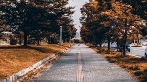 Превью обои тротуар, деревья, аллея, улица