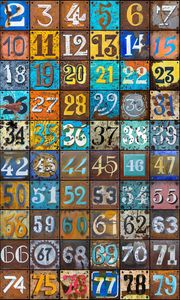 Превью обои цифры, текстура, ржавчина, разноцветный