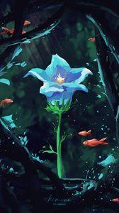 Превью обои цветок, лепестки, рыбы, под водой, арт