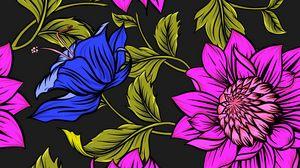 Превью обои цветы, лепестки, листья, узоры, яркий, разноцветный