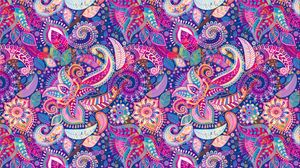 Превью обои цветы, орнамент, узор, разноцветный, арт