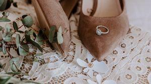 Превью обои свадьба, туфли, кольцо, букет, декорация, детали, узоры