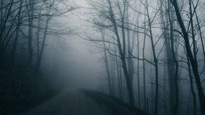 Превью обои туман, дорога, деревья, мрачный, темный