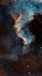 Превью обои туманность пеликан, туманность, свечение, звезды, космос