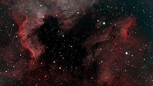 Превью обои туманность пеликан, туманность, звезды, космос, красный