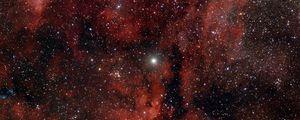 Превью обои туманность, свечение, звезды, красный, космос