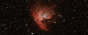 Превью обои туманность, звезды, блики, космос, красный, темный