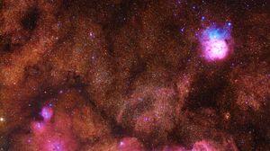 Превью обои туманность, звезды, небо, вселенная, свечение