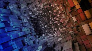 Превью обои туннель, погружение, форма, куб, пространство