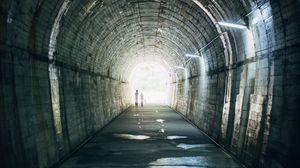 Превью обои туннель, силуэты, фонари, подземный переход, мыс сата, кагосима, япония