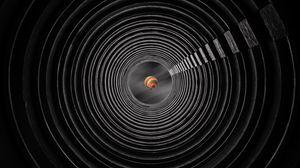 Превью обои туннель, воздушный шар, небо, круги, симметрия